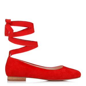 WISHFUL BALLET FLATS RED SUEDE