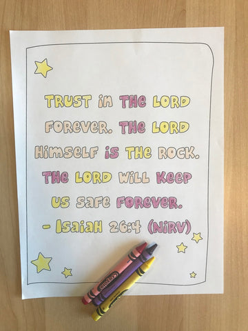 Isaiah 26:4 Bible Verse Coloring Page