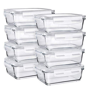 Glass Food Storage Containers, Bayco [8 Sets, 29oz]