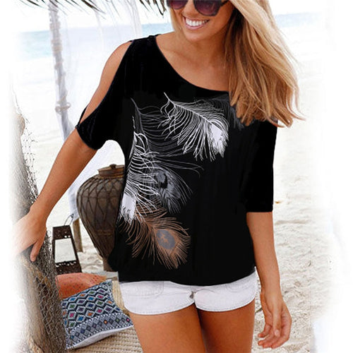 Summer   Off Shoulder Feather Print T-Shirt