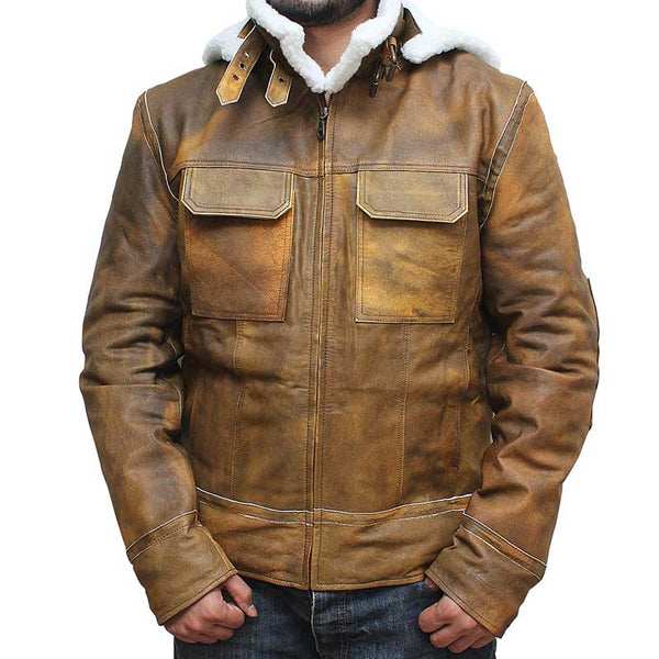 Angel Distressed Brown Leather Jacket With Hood