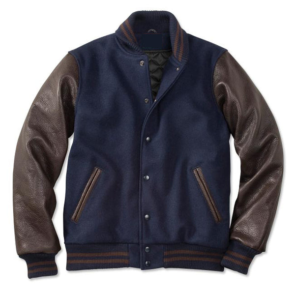 Brown and Navy Blue Letterman Jacket