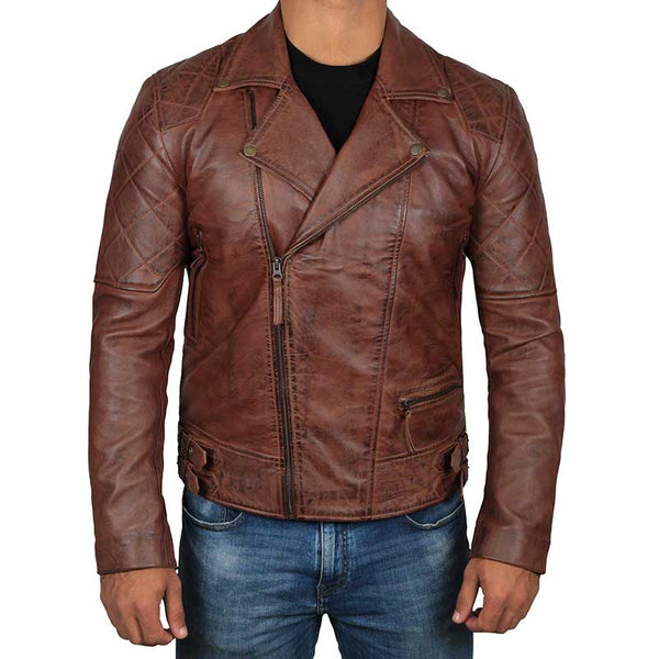 FRISCO Quilted Dark Brown Vintage Leather Jacket