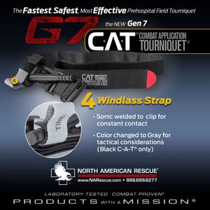 North American Rescue Combat Application Tourniquet (C-A-T or CAT) is true one handed application