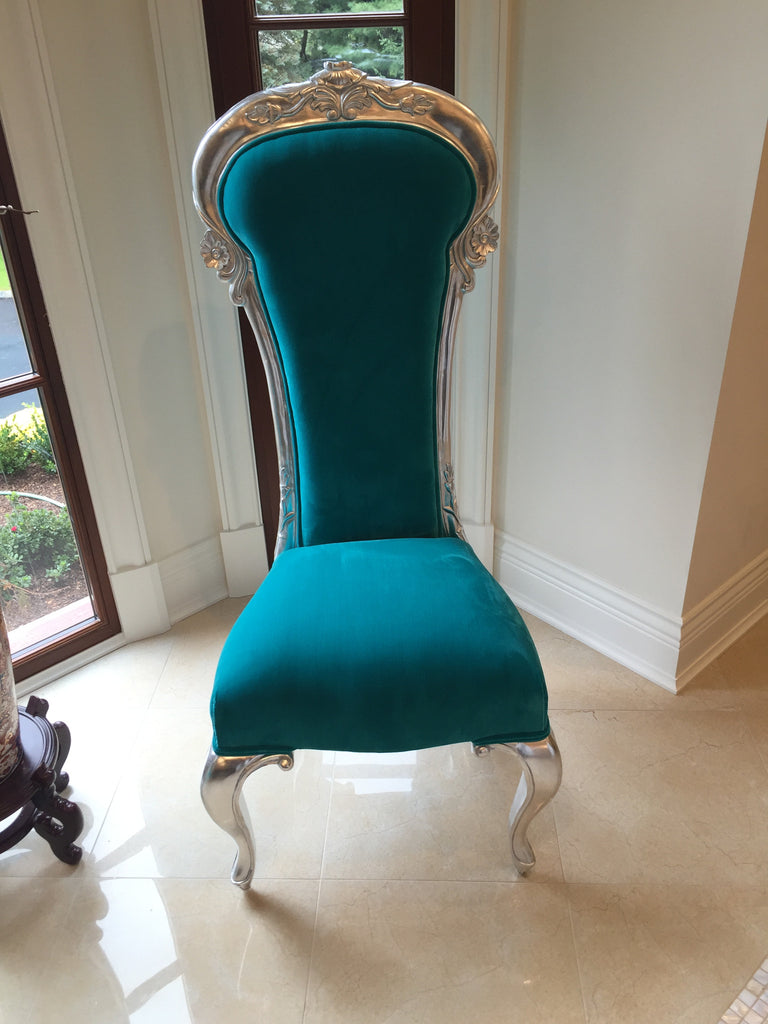 Dauphine Chair - Silver & Turquoise - Client Delivery