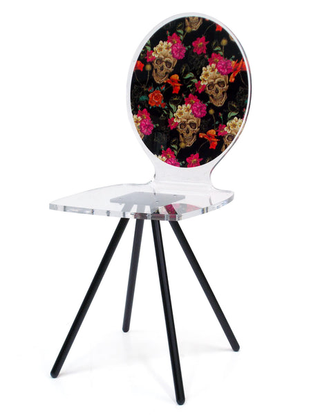 Graph Chair - Flowers Skulls with metal legs