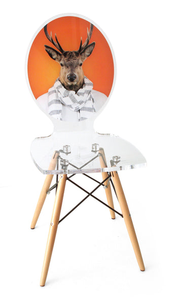 Graph Chair - Orange Deer with wooden legs