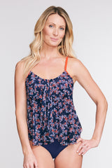 DRAPED TIER MESH TANKINI IN LIBERTY GARDEN BY MAZU SWIM