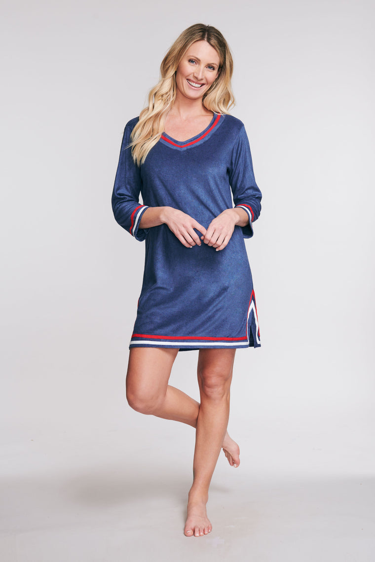 3/4 SLEEVE TERRY CLOTH COVERUP IN SOLID NAVY BY MAZU SWIM