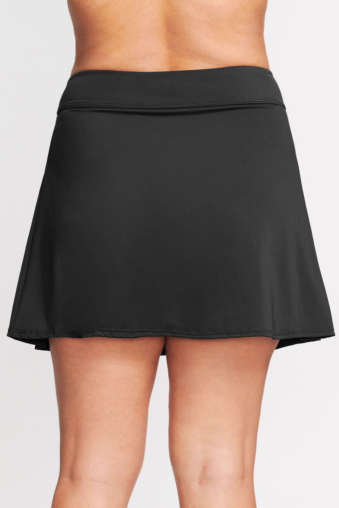 PLUS SIZE PLEATED LONG LENGTH SWIM SKIRT IN SOLID BLACK BY MAZU SWIM
