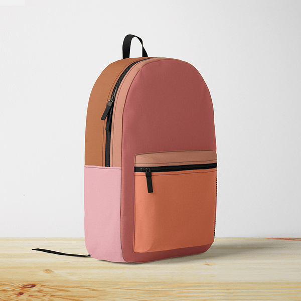 Burnt Orange Color Block Backpack
