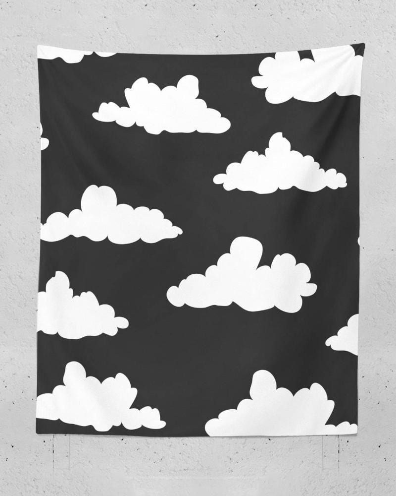 Clouds Tapestry - Black Tapestry, Wall Tapestry, Kids Tapestry, Wall Tapestries, Dorm Room Tapestries, Nature Wall Tapestry, Cool Tapestry
