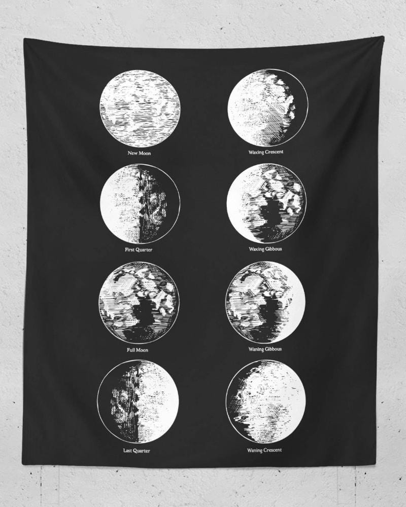 Moon Phases Tapestry - Lunar Phases Print, Moon Phases Wall Art, Space Wall Tapestry, Space Tapestries, Wall Tapestry Hippie, Dorm Room Art