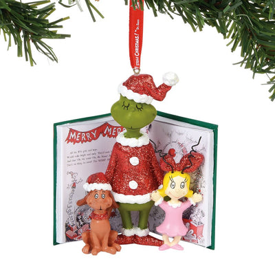 Grinch Cindy and Max Book Ornament