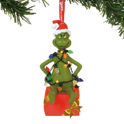 Grinch Wrapped In Lights, Lit Ornament