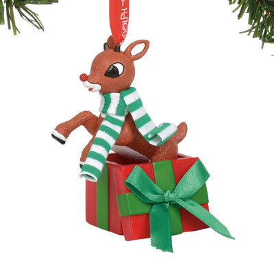 Rudolph The Red-Nosed ReindeerJumping Out of Gift Ornament