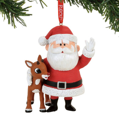 Rudolph The Red-Nosed Reindeer & Santa Ornament