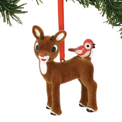 Rudolph The Red-Nosed Reindeer With Bird Flocked Ornament