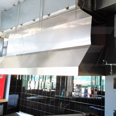 Kitchen exhaust hood with air purification unit on top