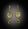Gold Tiny Oval Spring Maple Earrings with Peridot Drop