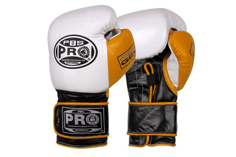 Pro Boxing® Series Gel Velcro Gloves - PBG White/Black with Yellow Thumb