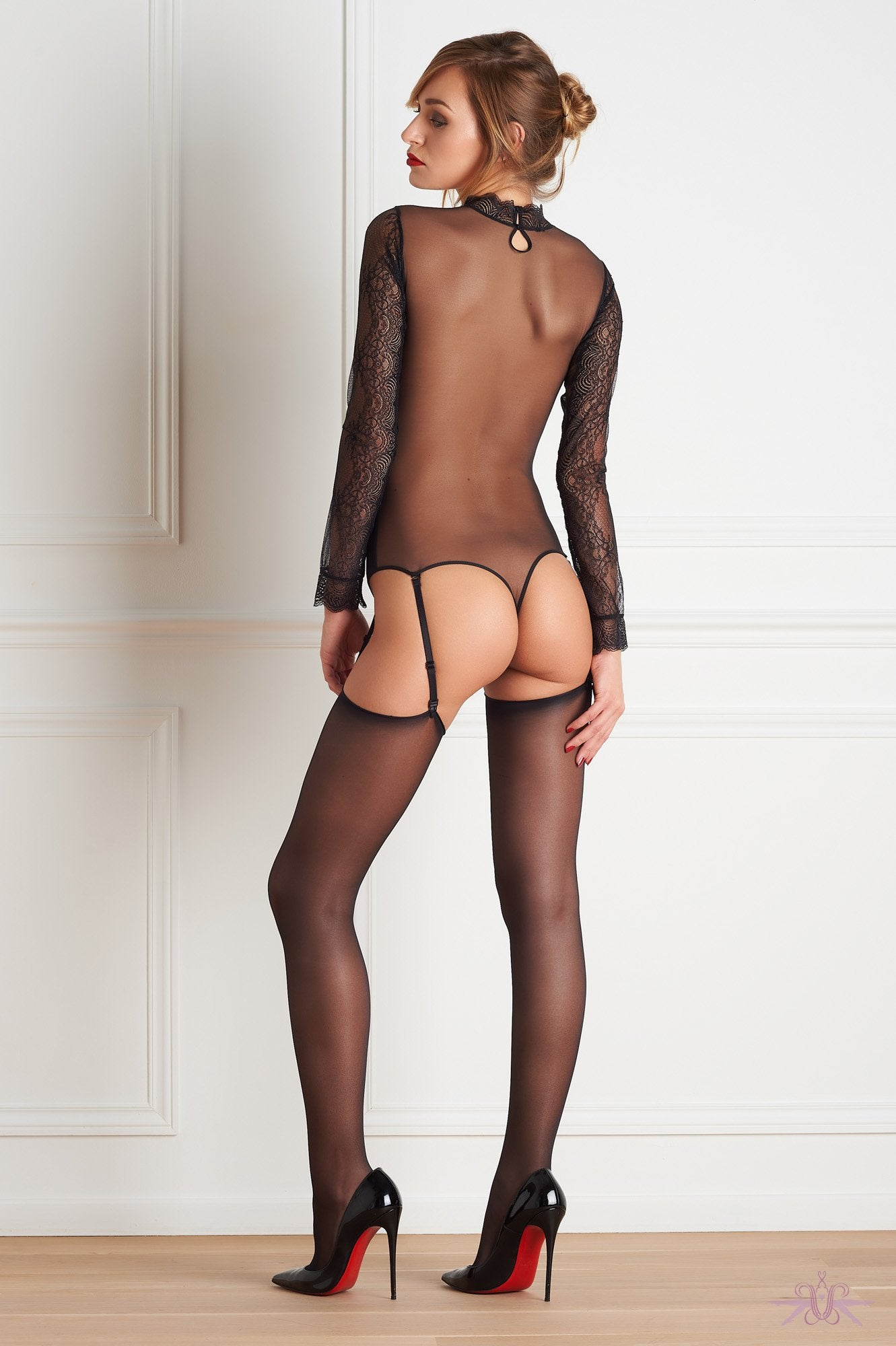 Maison Close Sheer Cut and Curled Stockings
