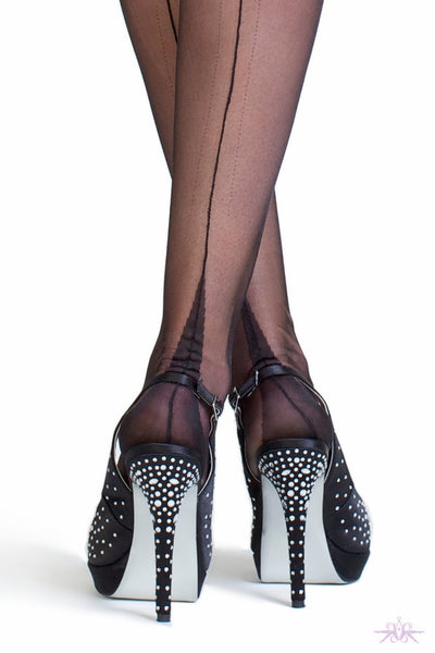 Gio Point Heel Fully Fashioned Stockings - Mayfair Stockings