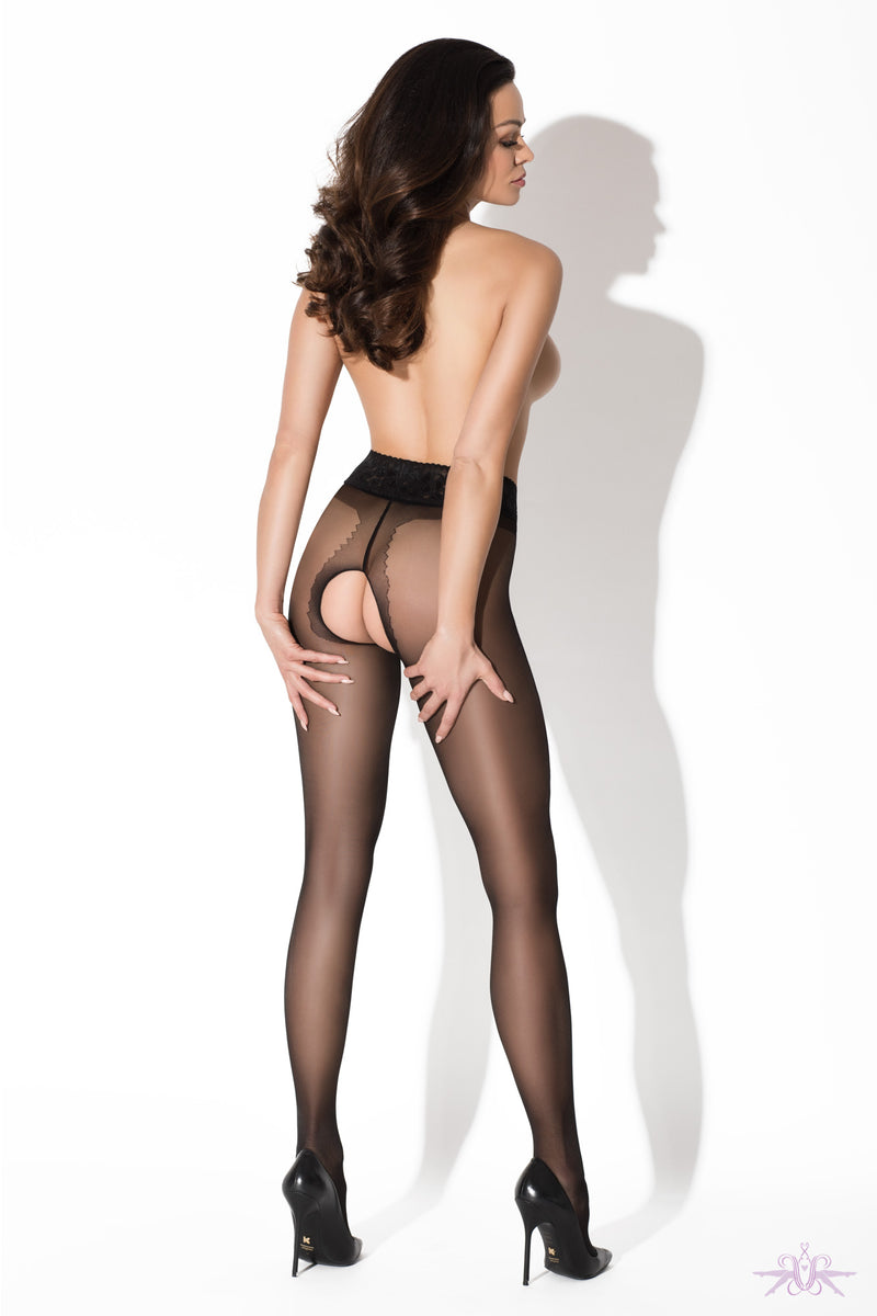 Amour Black Lace Crotchless Tights