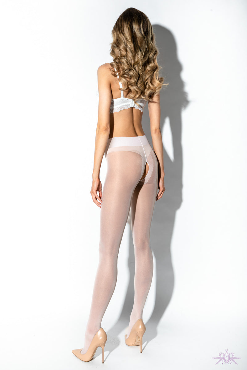 Amour Gloss Crotchless White Tights
