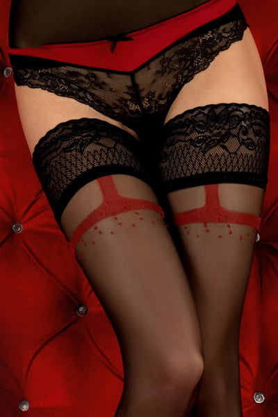 Ballerina Faux Suspender Floral Black/Red Hold Ups - Mayfair Stockings