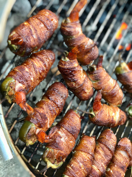 Smoked Bacon Wrapped Stuffed Jalapeno with Boudin & Shrimp