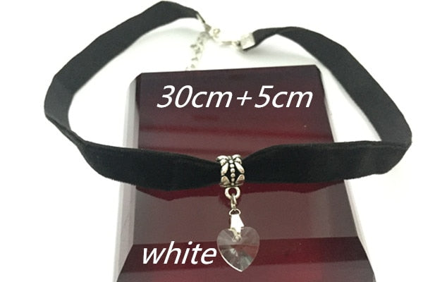 Gothic Velvet Heart Crystal Choker Necklace