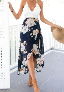 women lace long flower print patchwork dresses