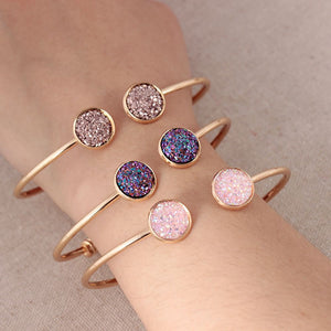 Summer Women's Fashion Opal Metal Cuff Bangles