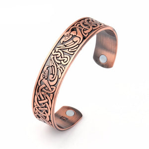 Copper Tone Cuff Bangle With Two Magnetic
