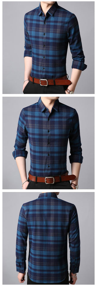Mens Plaid Button Down Slim Fit Shirt