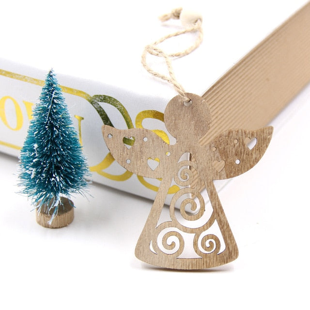 Hollow Christmas Snowflakes Wooden Pendants