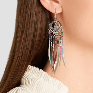 Silver Ethnic Rainbow Colors Earrings for Women