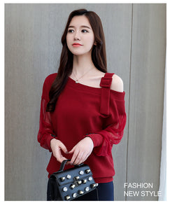 sexy off shoulder top solid women blouse shirt