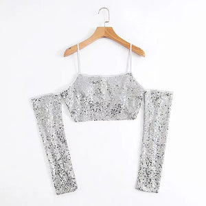 Sequin Crop Top Womens High Street Tank