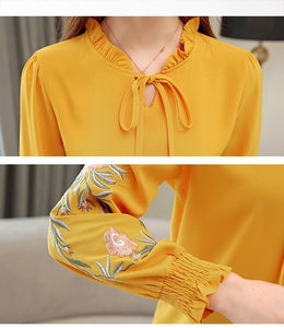 floral embroidery chiffon blouse shirt