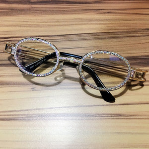 Clear lens Rhinestone sunglasses