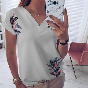 Fashion Print White Pink Wild Top