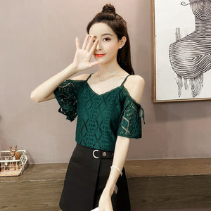 Fashion sexy slash neck lace blouse women shirt