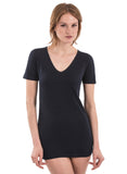 100% BLACK BAMBOO V NECK V-NECK FOR WOMEN LONG BLACK SHIRT