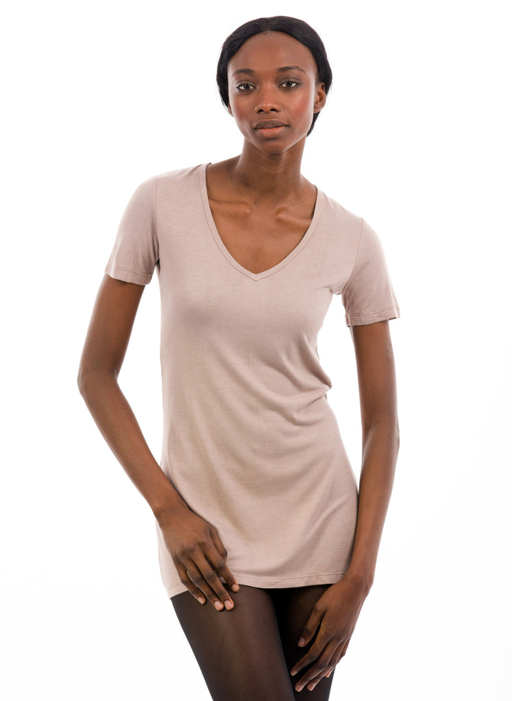 WHITE SHORT SLEEVE V NECK GIRLS 100% BAMBOO