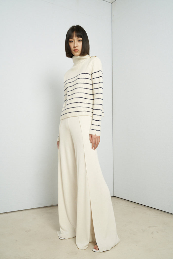 Side slit silk and cotton-blend wide-leg pants