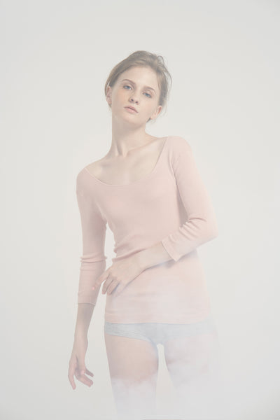 Scoop neck ribbed silk and cotton-blend top