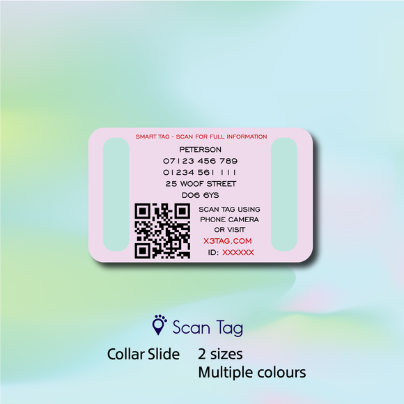 Collar Slide - Choice of colour - Web Enabled Pet Tag with Online Profile + Location Tracking Feature (single sided)