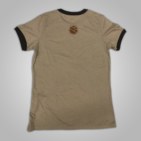 "Toh Kay ""Lion Face"" Womens Ringer T-Shirt (Tan/Brown)"